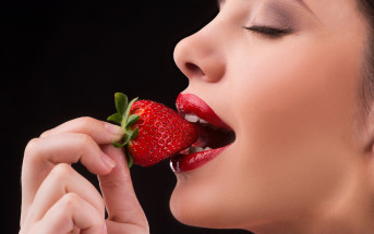mindful eating of a strawberry