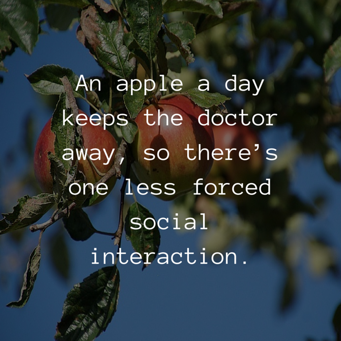 an apple a day introvert quote