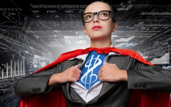 business woman glass superhero