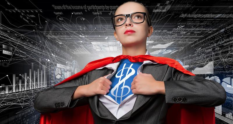 business woman glass superhero