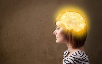 woman with glowing brain illustration