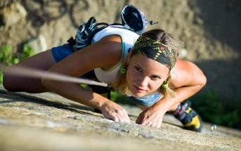 adventurous girl climbing