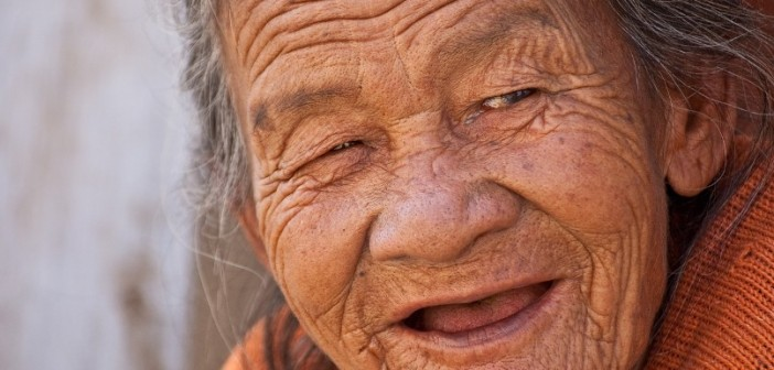 very old woman smiling