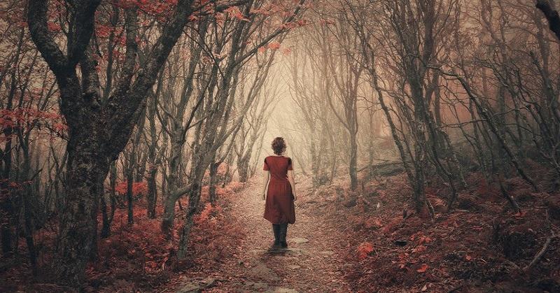 woman walking in misty woods
