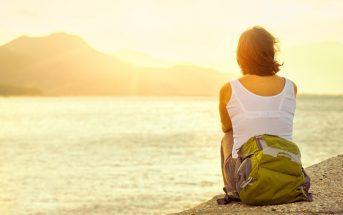 introvert woman sunset