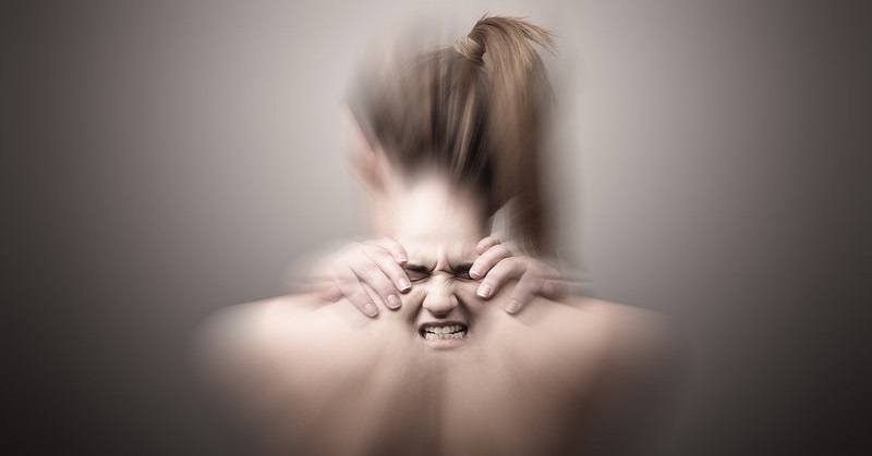 woman depiction of stress-related neck pain