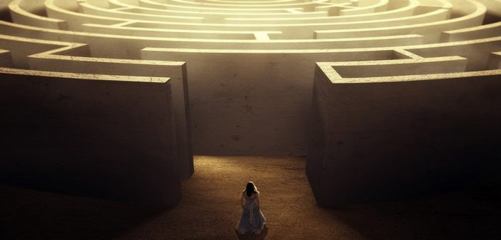 woman entering maze - concept of self-improvement