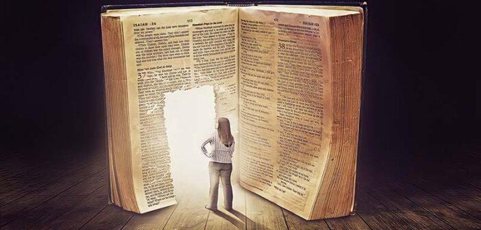 woman walking into door in book