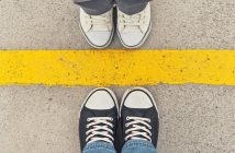 shoes either side of yellow line