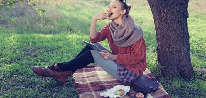 woman having picnic alone - concept of putting yourself first
