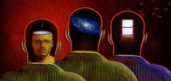 3 heads surreal minds - concept of unconscious mind