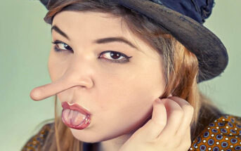 woman with Pinocchio nose - concept of lying