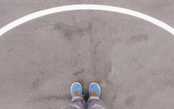 image of feet standing within circle on the ground to signify personal space
