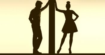 silhouette of couple separated by a wall - concept of relationship boundaries