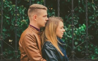 young couple in side profile view