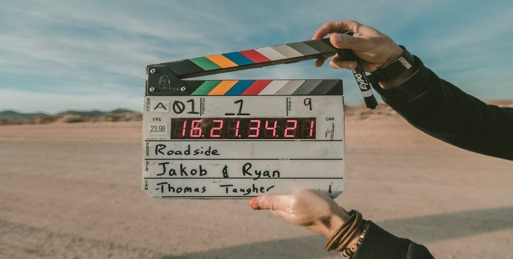 movie slate with desert in the background