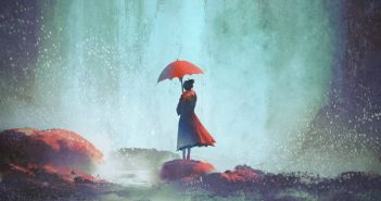 illustration of woman with red umbrella standing alone against a waterfall - concept of abandonment