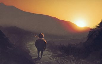 illustration of man walking down mountain path at sunrise - signifying change