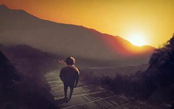 illustration of man walking down mountain path at sunrise - signifying change
