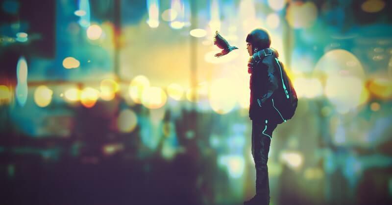 futuristic woman staring at bird - concept of jamais vu