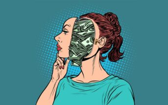 pop art of woman thinking about money