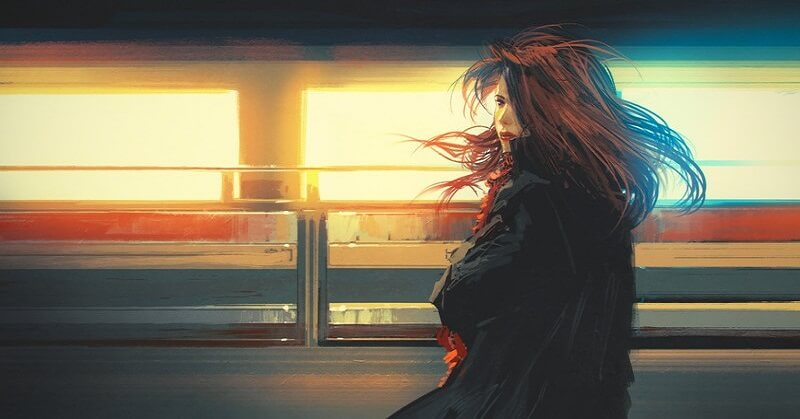 digital painting of woman with moving train in background - signifying anxiety