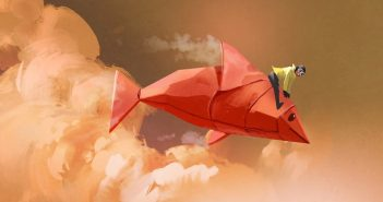 illustration of man riding origami fish through the sky - concept of changing your life