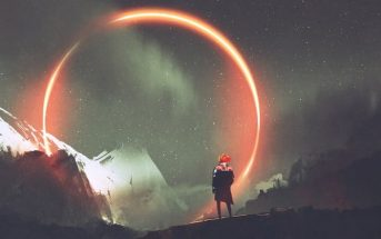 illustration of man standing in front of red circle of light against dark backdrop
