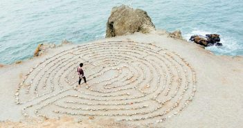 woman in pebble maze