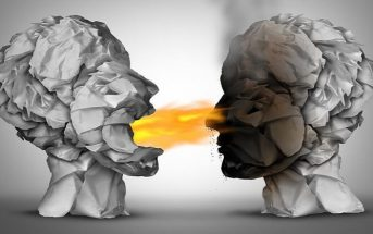 illustration of two heads with flame coming out of one mouth toward another to signify a heated argument