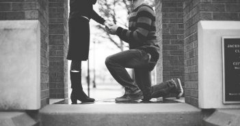 man on one knee proposing to girlfriend - concept of moving too fast