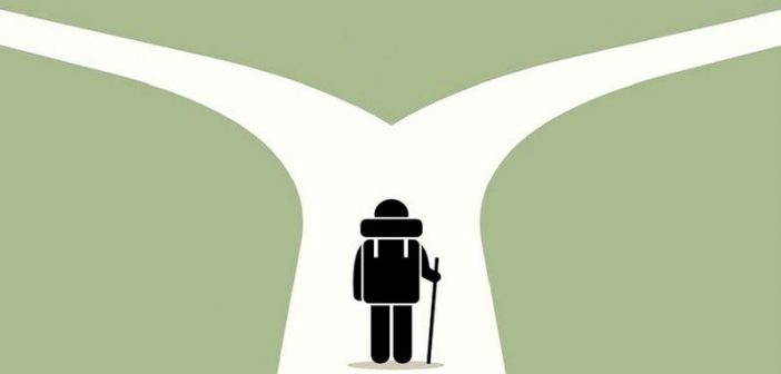 illustration of person at crossroads - symbolising making a decision