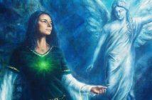 illustration of spiritual woman and angel spirit guide