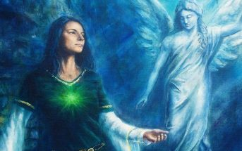 illustration of spiritual woman and angel spirit guide