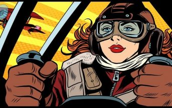illustration of heroic female fighter pilot