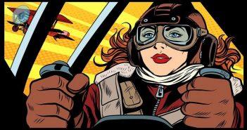 illustration of heroic female fighter pilot