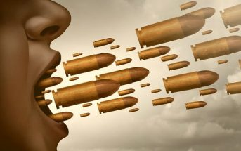 illustration of bullets coming out of mouth to symbolize a mean and rude person