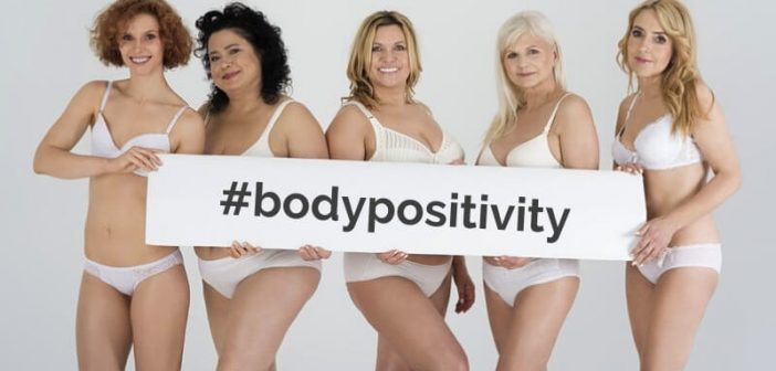 group of natural women in underwear showing off their body positivity