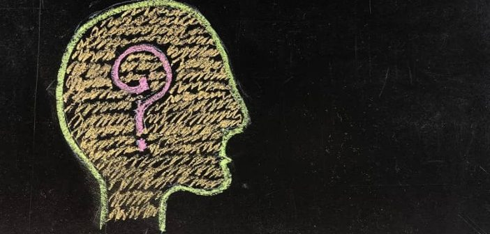 illustration of head with question mark - concept of goals of psychology goals