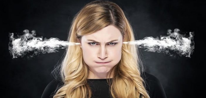 Woman with steam coming out of her ears illustrating her annoyance