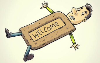 cartoon image of a man as a doormat illustrating being too nice