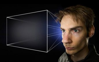 a man using visualization techniques with projection coming out of his eyes