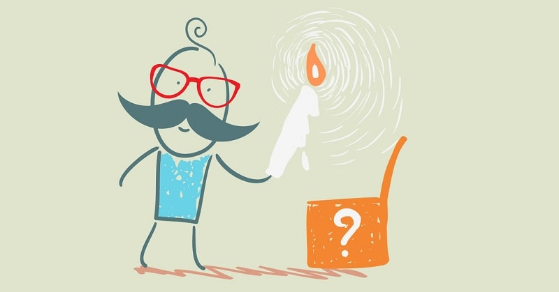 illustration of a man looking in a box with a question mark on it - indicating questions about life