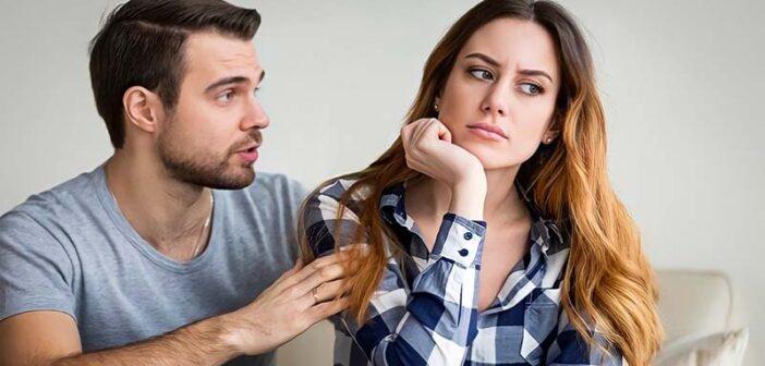 man apologizing to girlfriend