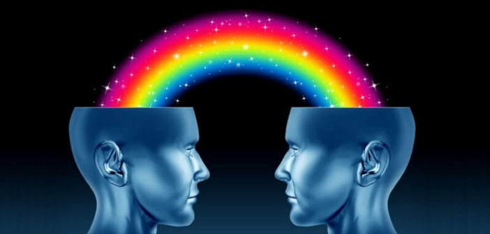 illustration of two heads with rainbow going between them to show kindred spirits
