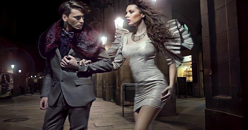 possessive boyfriend grabbing girlfriend in the street