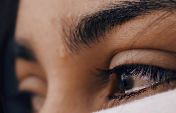 closeup of tearful eye