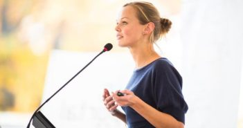 woman making speech illustrating fear of public speaking