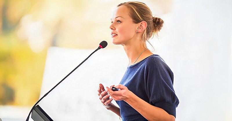 woman making speech illustrating fear of public speaking