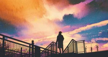 silhouette of man against beautiful sky illustrating the concept of growing up